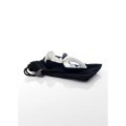 Jewellery anal PLUG- black, metal. Fényes acél anál plug fekete kristállyal 7x2,5cm  8462326000881 Anál