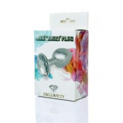 Jawellery plug cistal. Fém analplug áttetsző kristályfényű kővel 7x2,5cm 8462326000874 Anál Anál