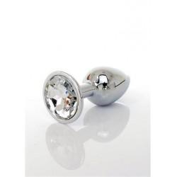 Jawellery plug cistal. Fém analplug áttetsző kristályfényű kővel 7x2,5cm 8462326000874 Anál